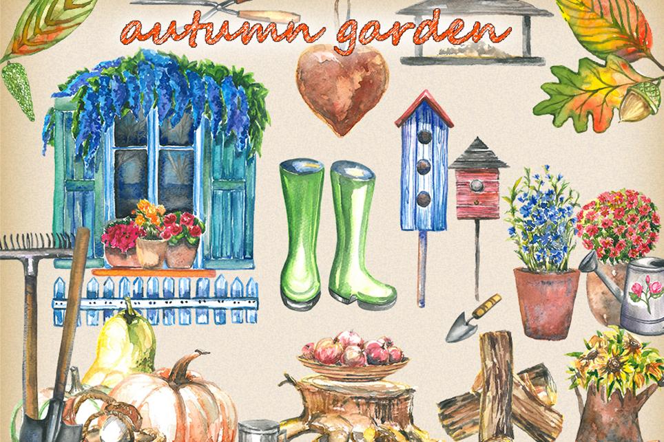 Garden clipart, spring clipart, garden tools, watercolor example image 2