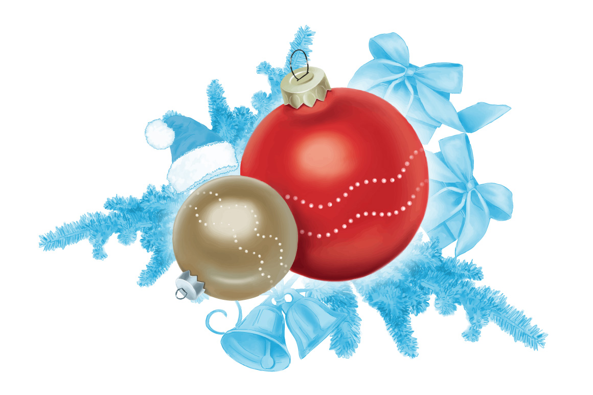 Christmas elements hand painting vector example image 1
