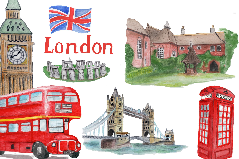 London symbols and landmark clipart Tower bridge, Big Ben example image 2