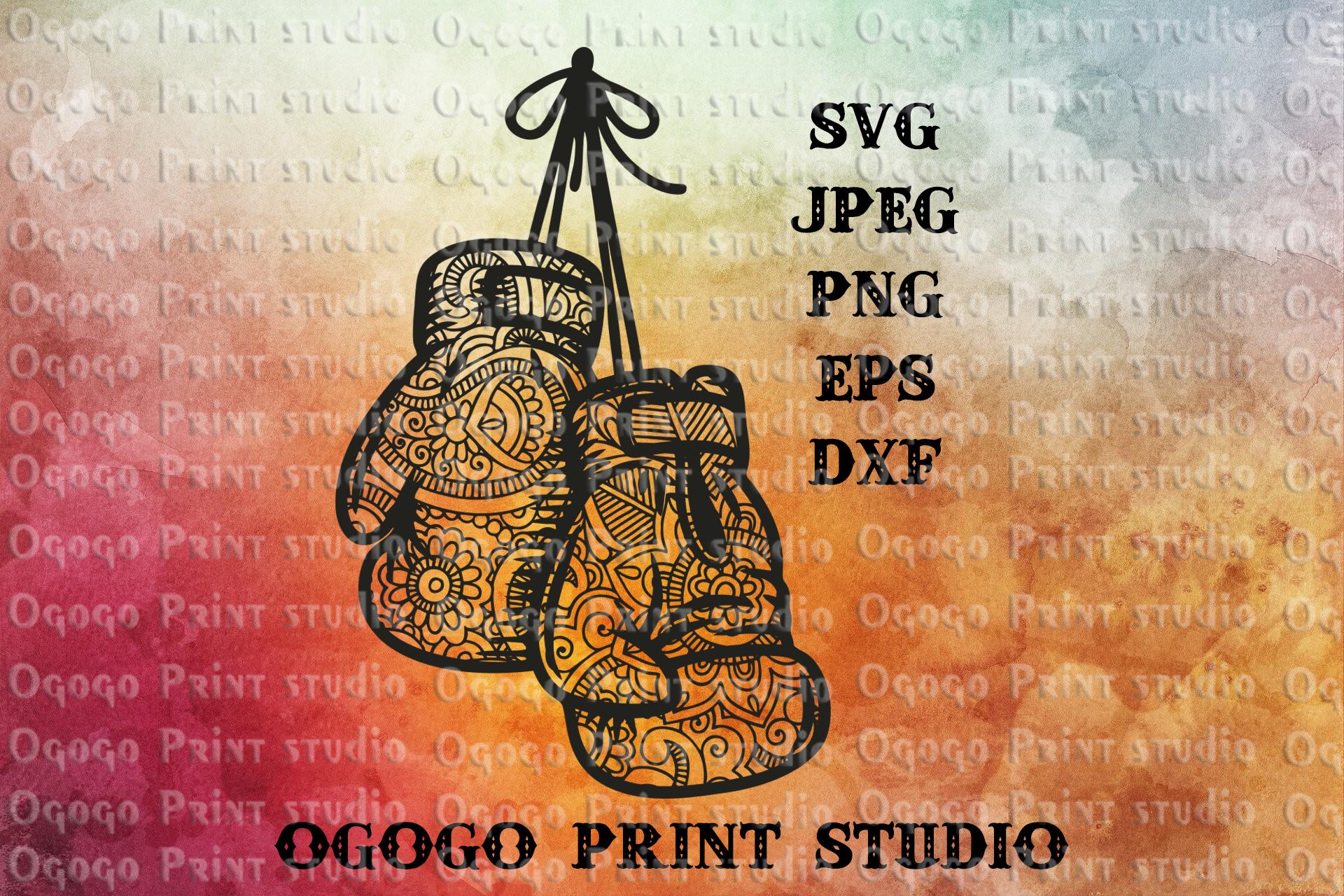 Boxing Gloves svg, Zentangle Svg, Boxing svg, Mandala svg example image 1