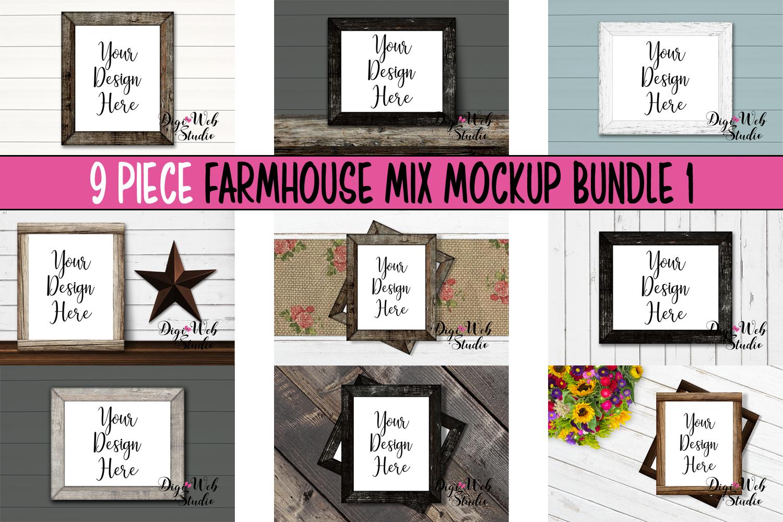 Wood Signs Mockup Bundle - 9 Piece Wood Frames Farmhouse Mix example image 1