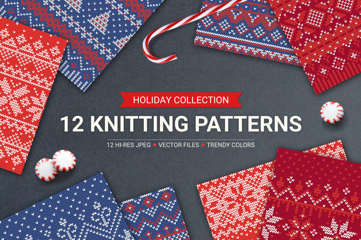 12 Knitting Seamless Patterns example image 1