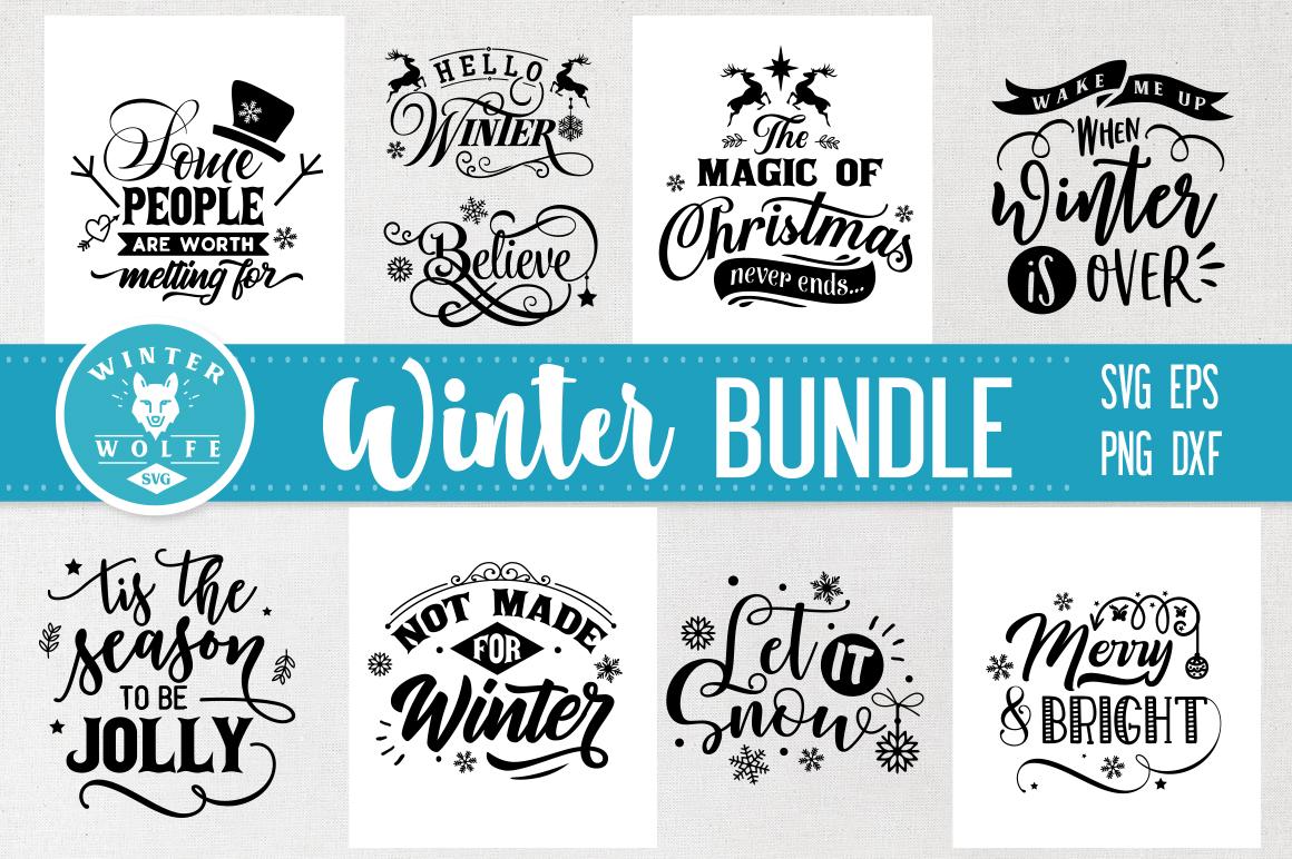 Winter Bundle 9 designs SVG EPS DXF PNG example image 1