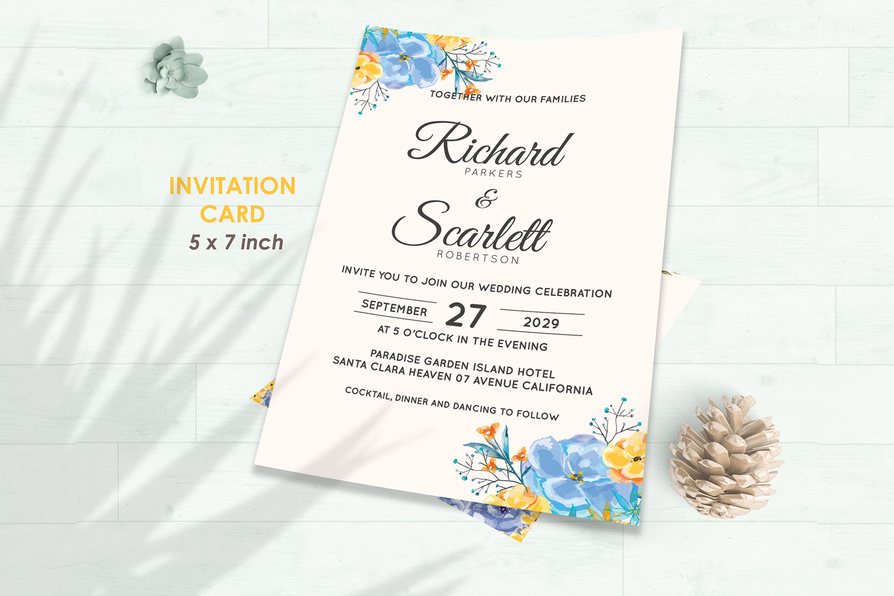 Wedding Invitation Set #7 Watercolor Floral Flower Style example image 2