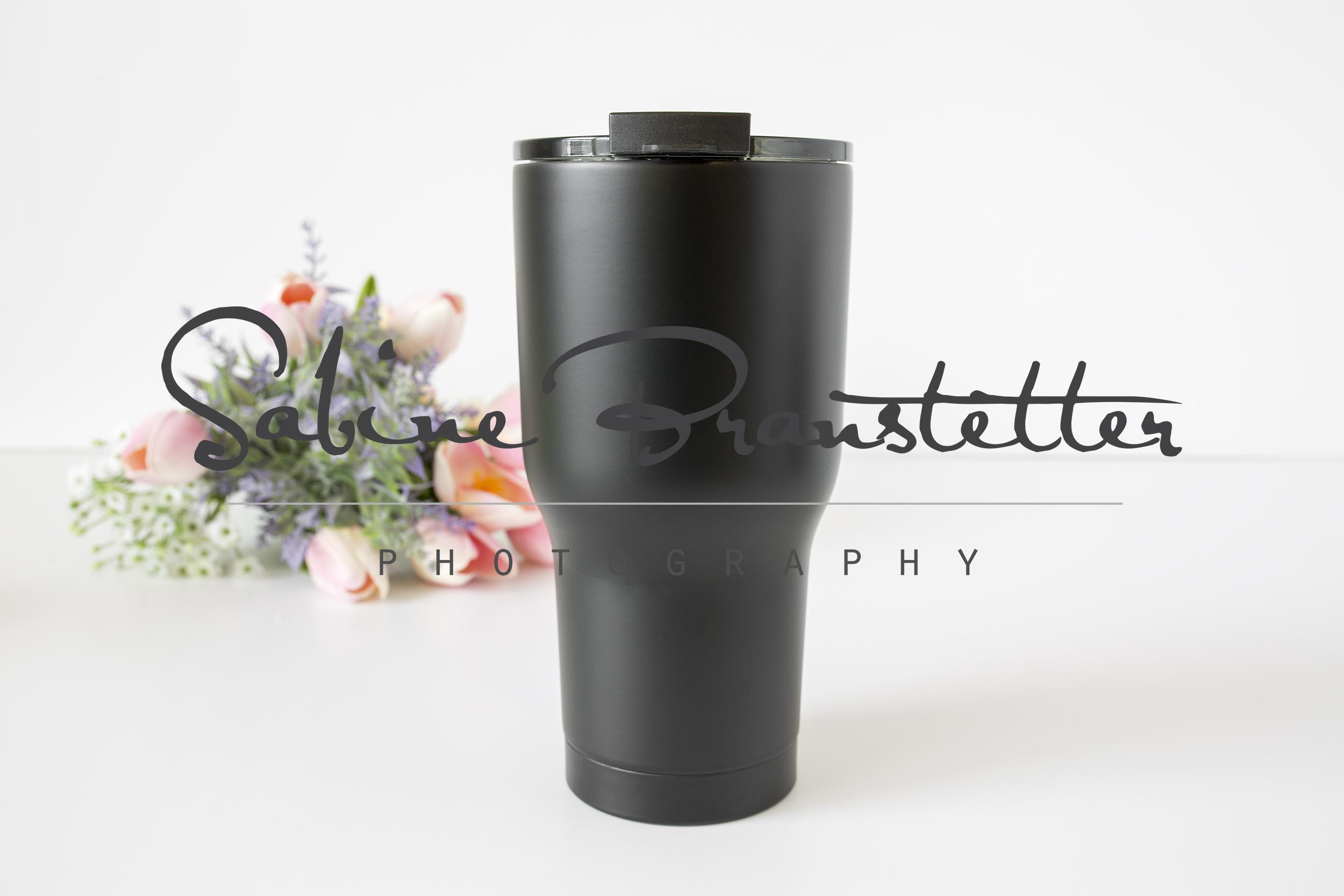 Styled Stock Photography Large Black Coffee Tumbler Mockup example image 1