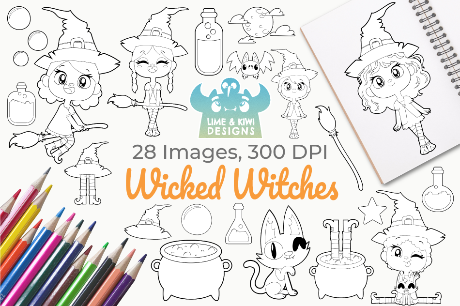Wicked Witches Digital Stamps, Instant Download Vector Art example image 1