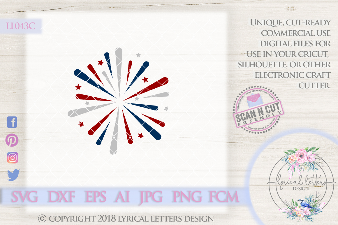Fireworks July 4th Independence Day American Patriotic USA Cutting File LL043C  SVG DXF FCM EPS AI JPG PNG example image 1