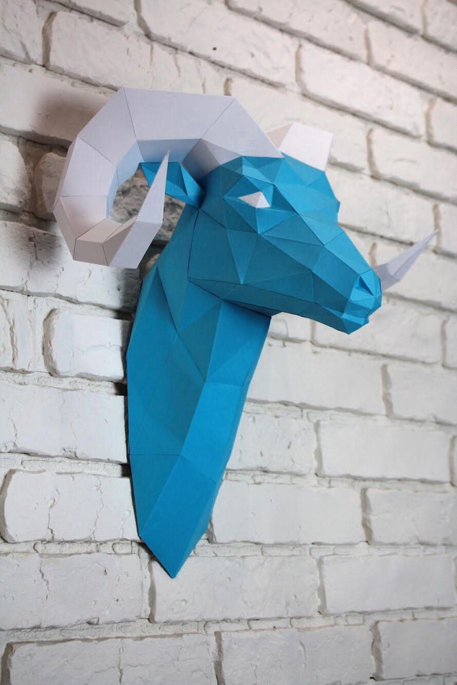Diy Paper Sculpture - Ram Head, Paper Trophy, Animal Trophy, Loft Decor, Wall Decor, 3D papercraft model, animal head, lowpoly paper, DIY example image 1