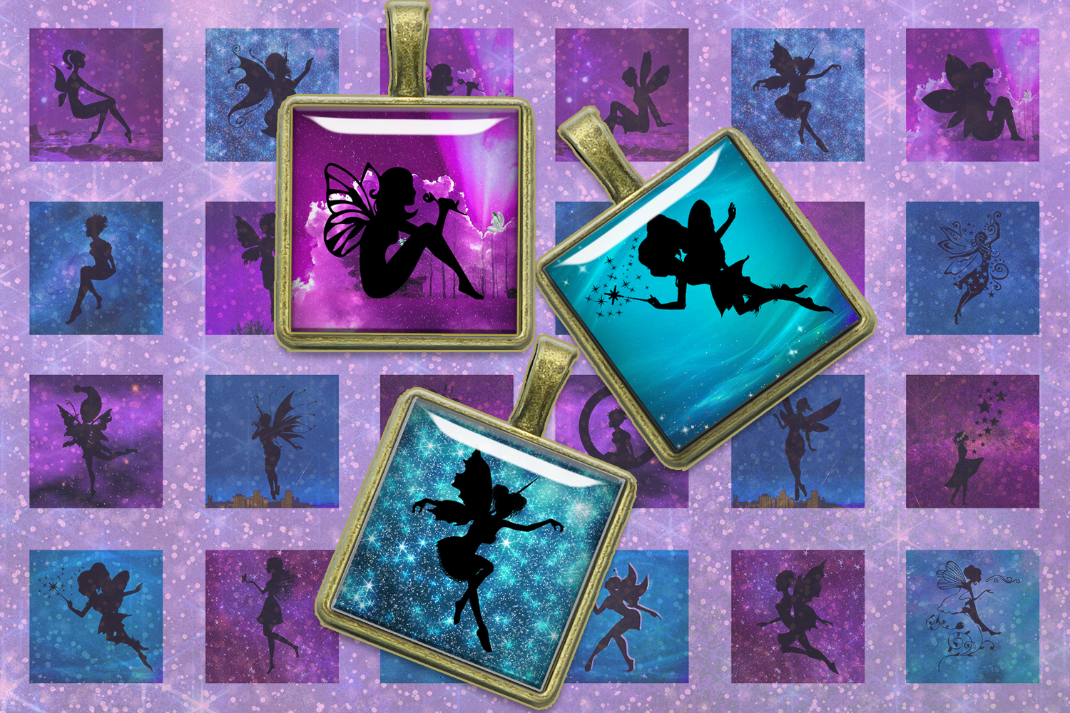 Fairies Silhouettes,Squares Digital Collage Sheet,Shine example image 1