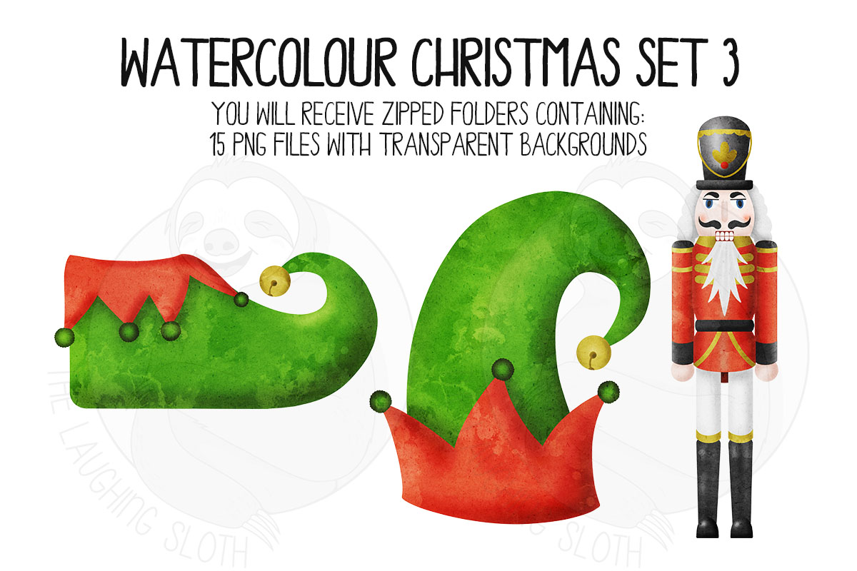 Watercolor Christmas Clipart Set 3 example image 7