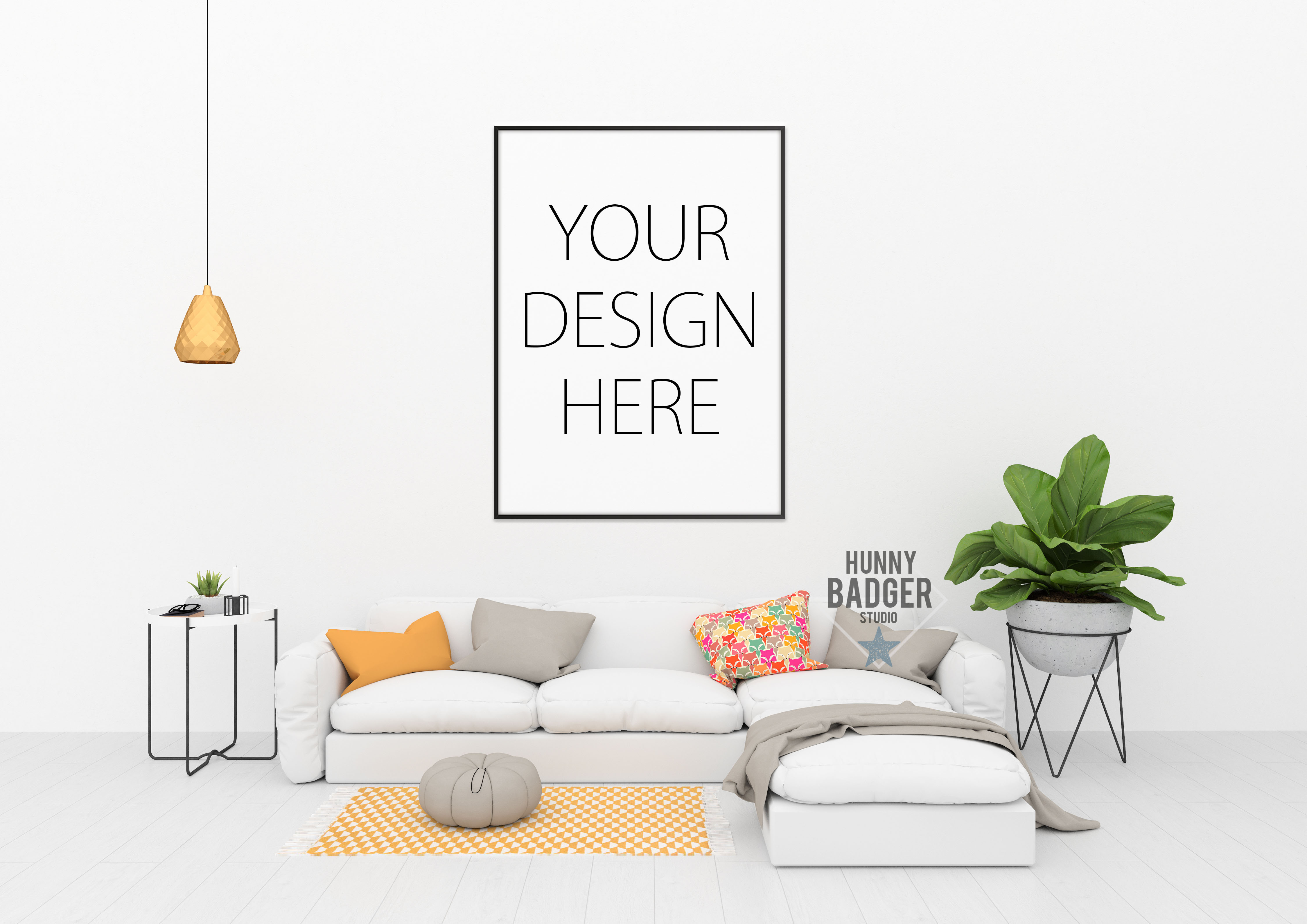 Blank wall mockup - wall art mock up example image 2
