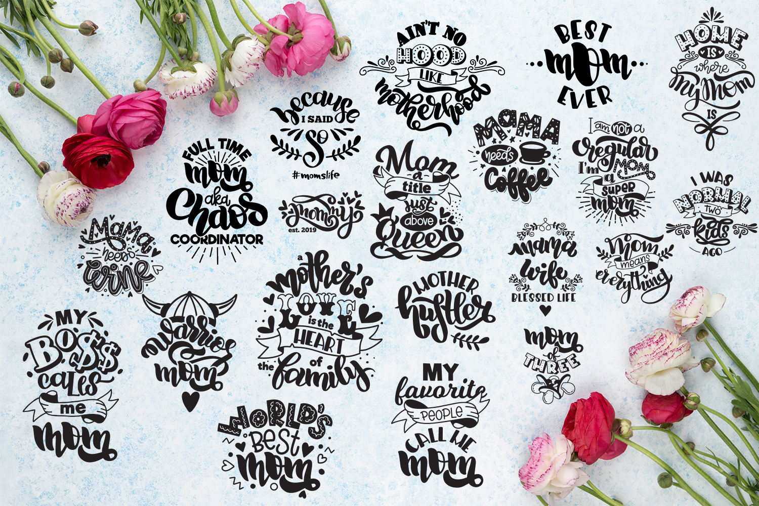 Mom bundle svg Mothers day hand lettered Mother's life example image 2