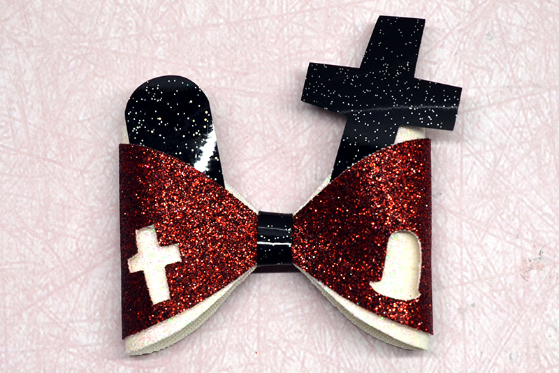 Cemetry Hair bow template SVG, DIY leather bow template example image 1