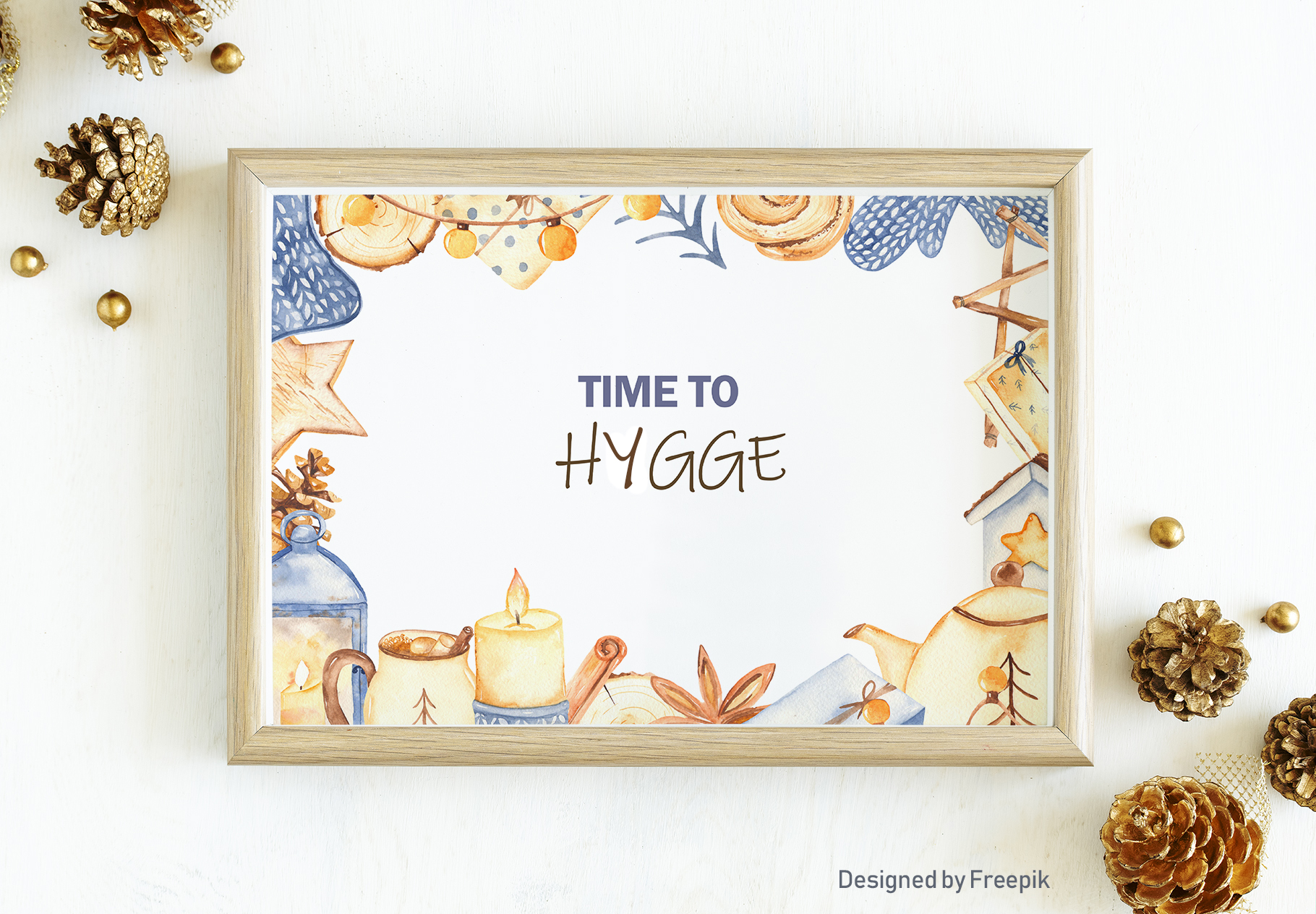 Hygge watercolor clipart Christmas cozy winter collection example image 9