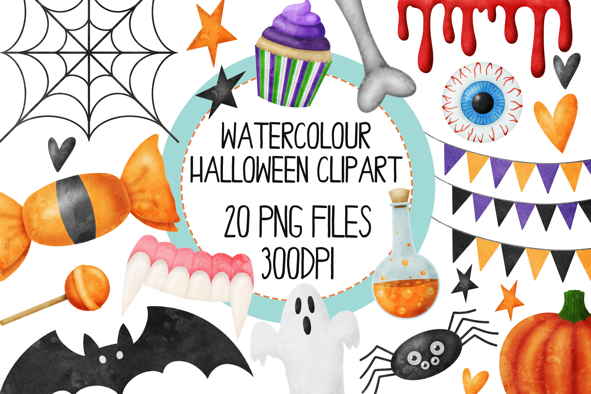 Watercolor Halloween Clip Art Set 1 example image 1