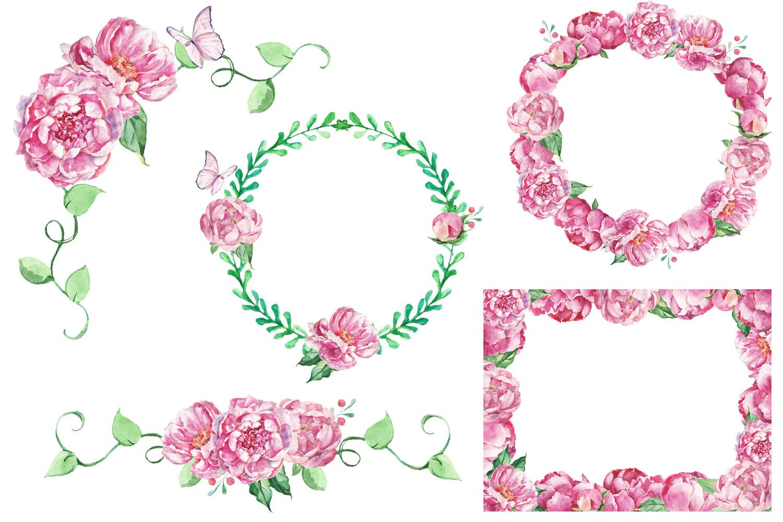 Watercolor Romantic Bouquet clip art example image 4