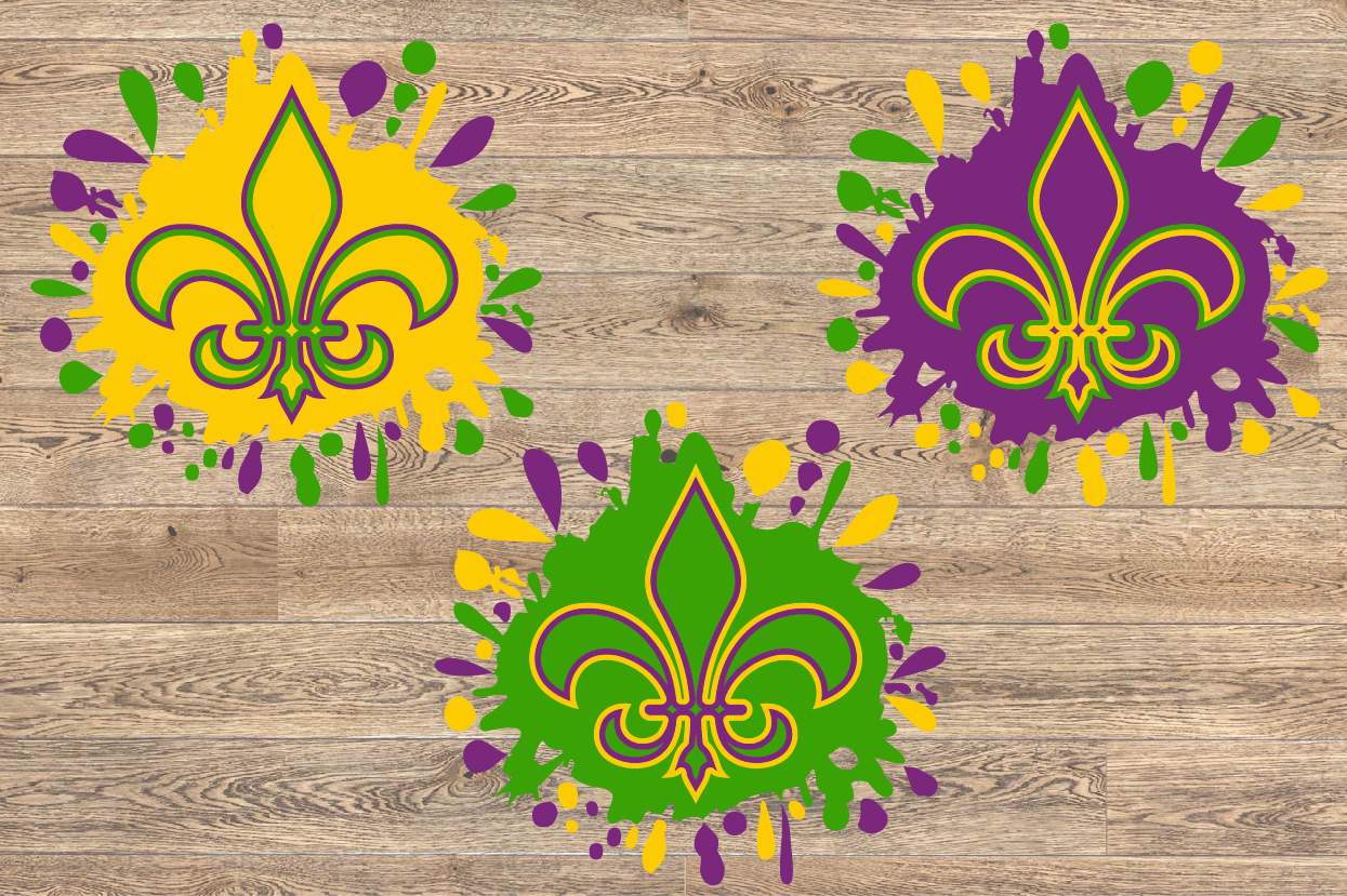 Fleur de Lis Mask Mardi ink Splash Gras SVG Tuesday 1279s example image 2