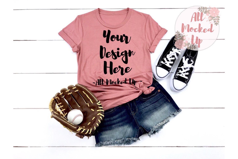 Bella Canvas 3001 / 3413 MAUVE Shirt Baseball Mock Up 3/19 example image 1