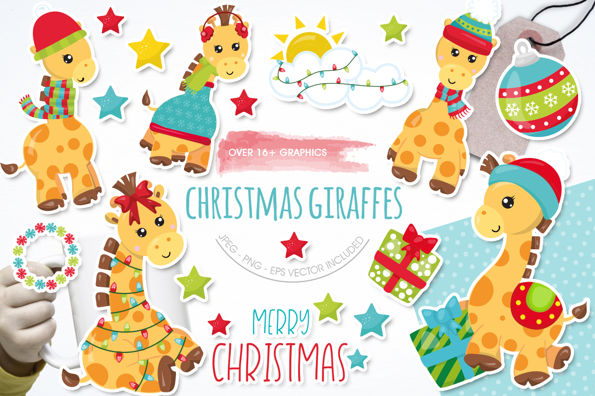Christmas Giraffes graphics and illustrations example image 1
