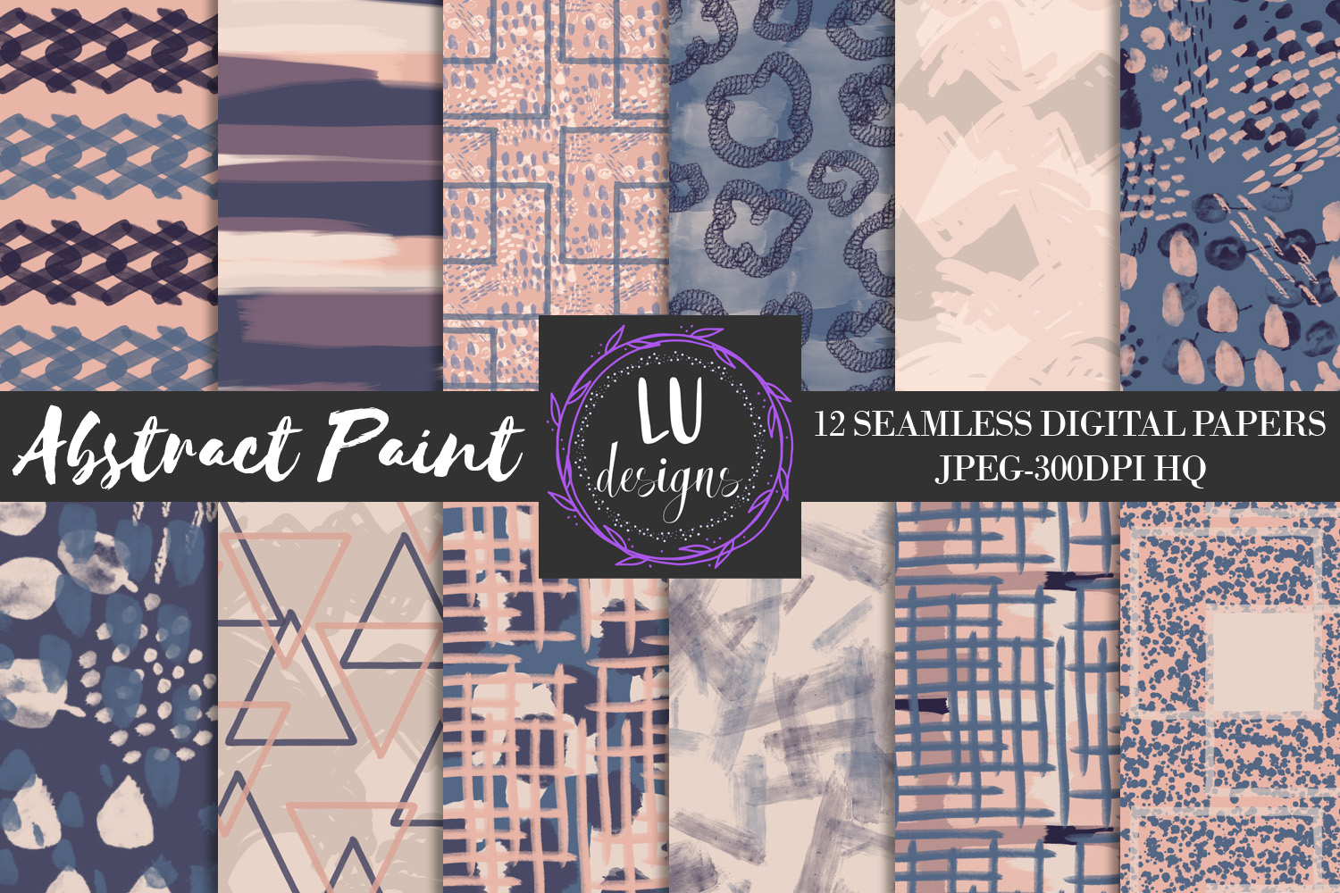 Navy and Nude Abstract Paint Digital Paper example image 1