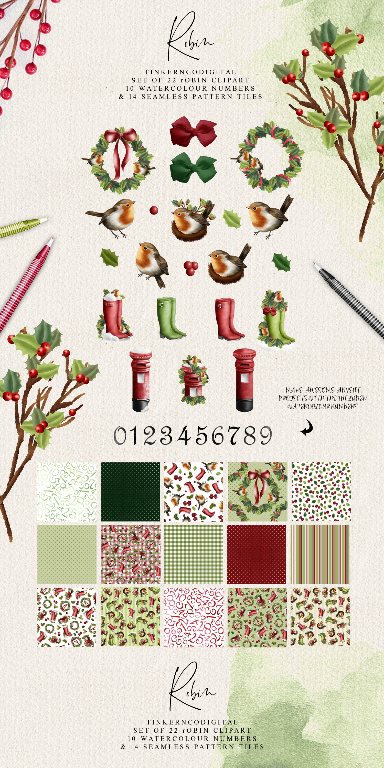 Christmas Robin Clipart and seamless patterned paper tiles example image 3