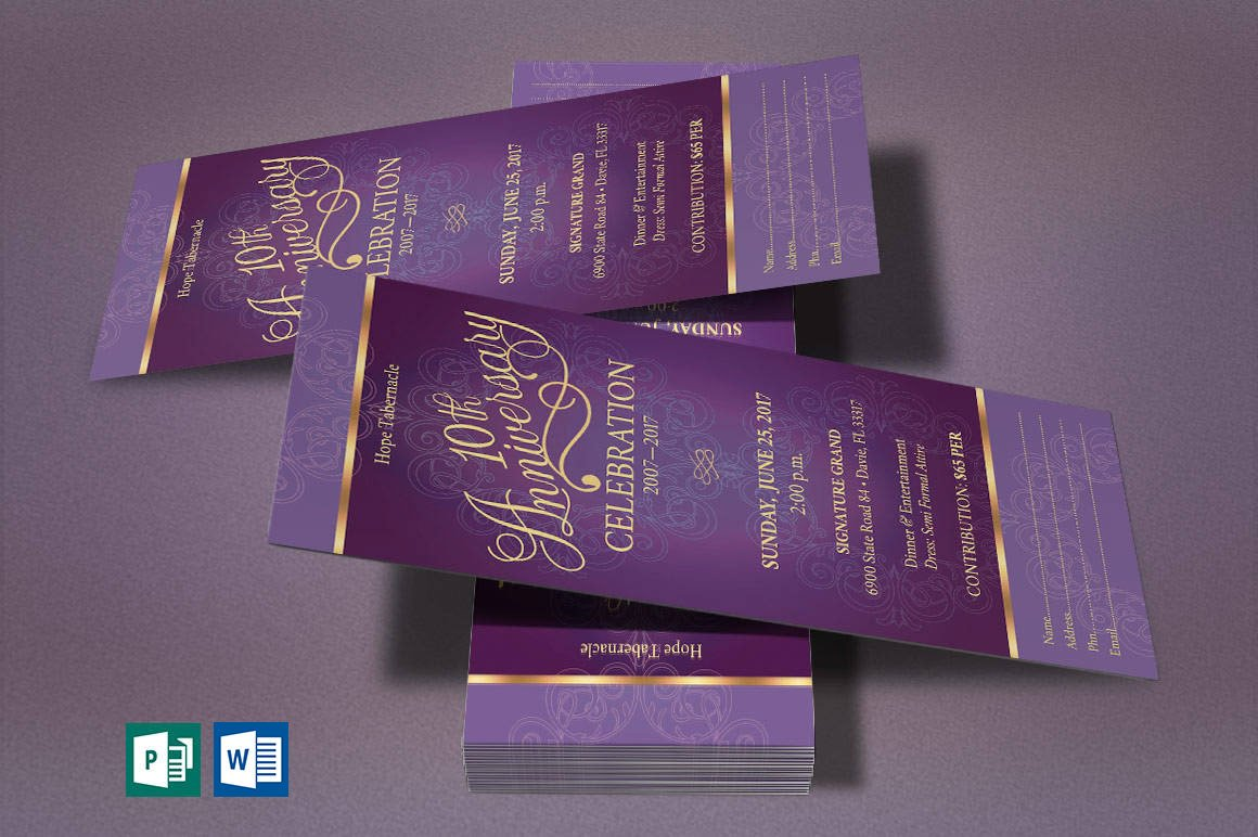 Church Anniversary Publisher Word Ticket Bundle example image 5
