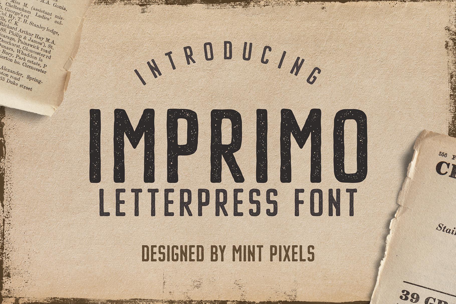 Imprimo Letterpress Font example image 1