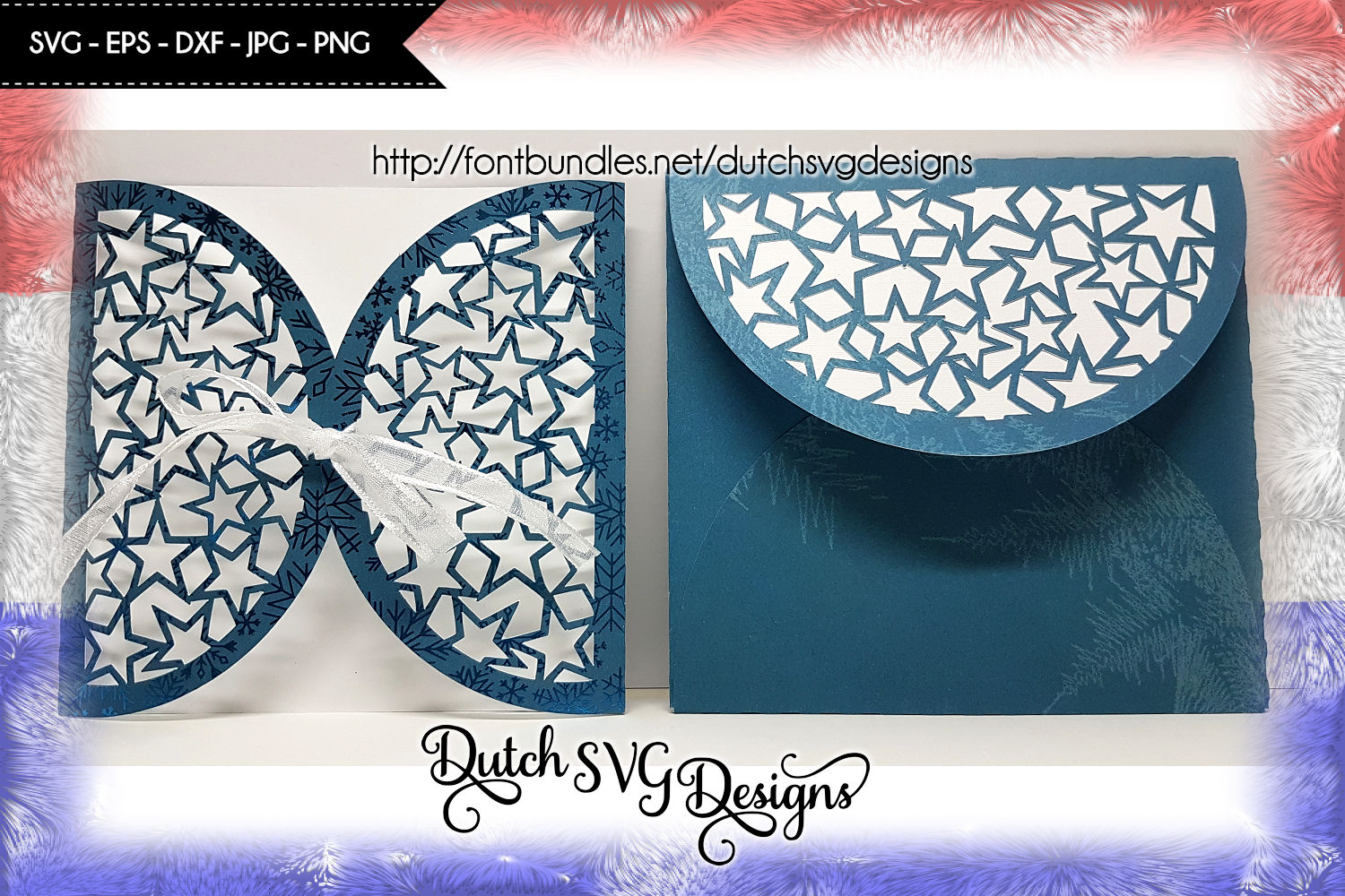 Cutting file blank card with envelop and stars, card svg example image 1