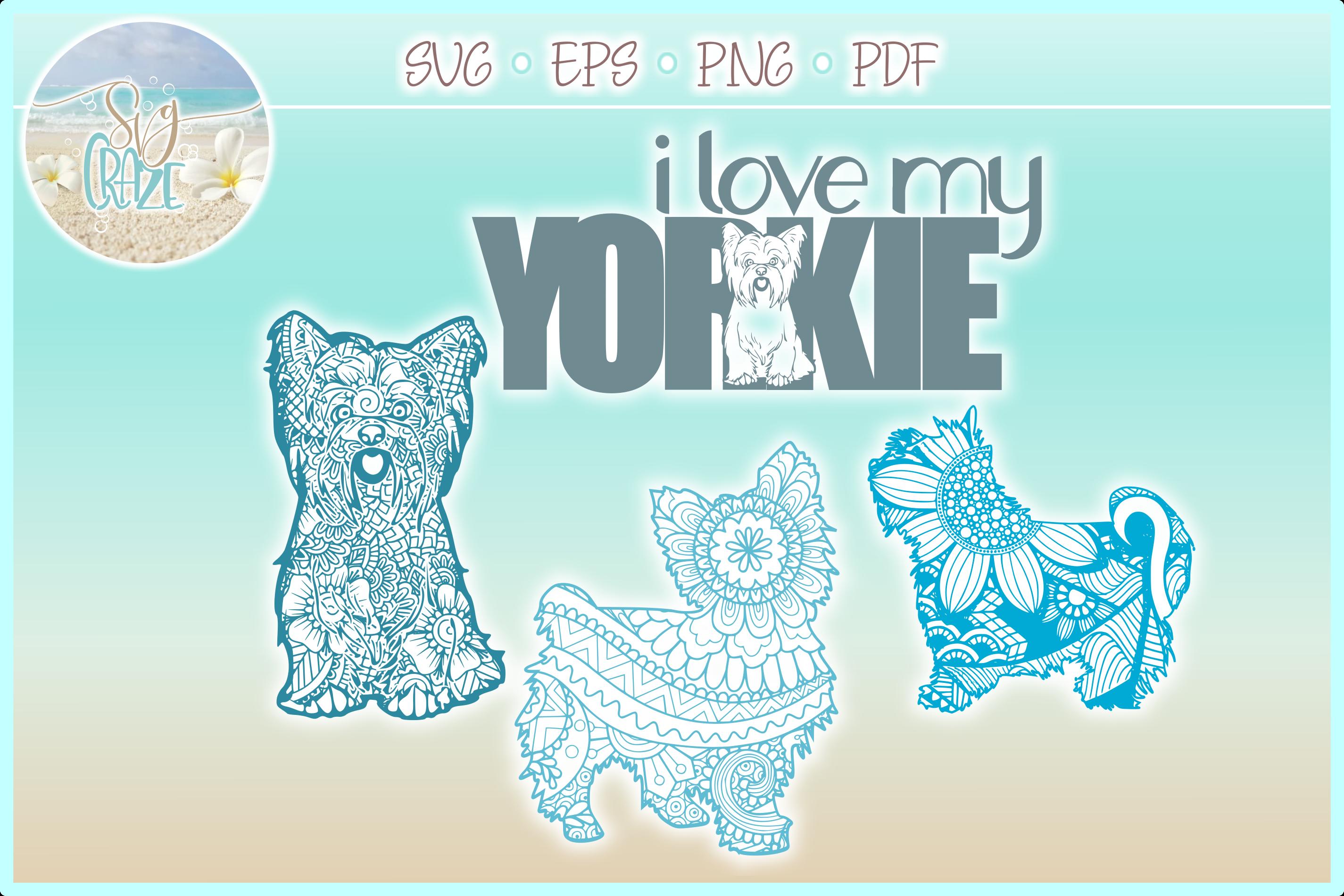 Yorkie Yorkshire Terrier Dog Mandala Zentangle Bundle SVG example image 1