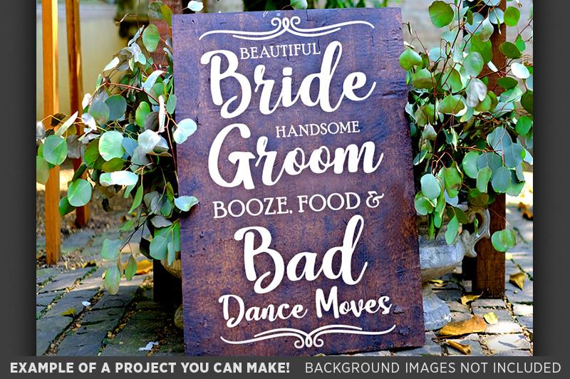 Beautiful Bride Handsome Groom Booze Wedding SVG File - 5518 example image 3