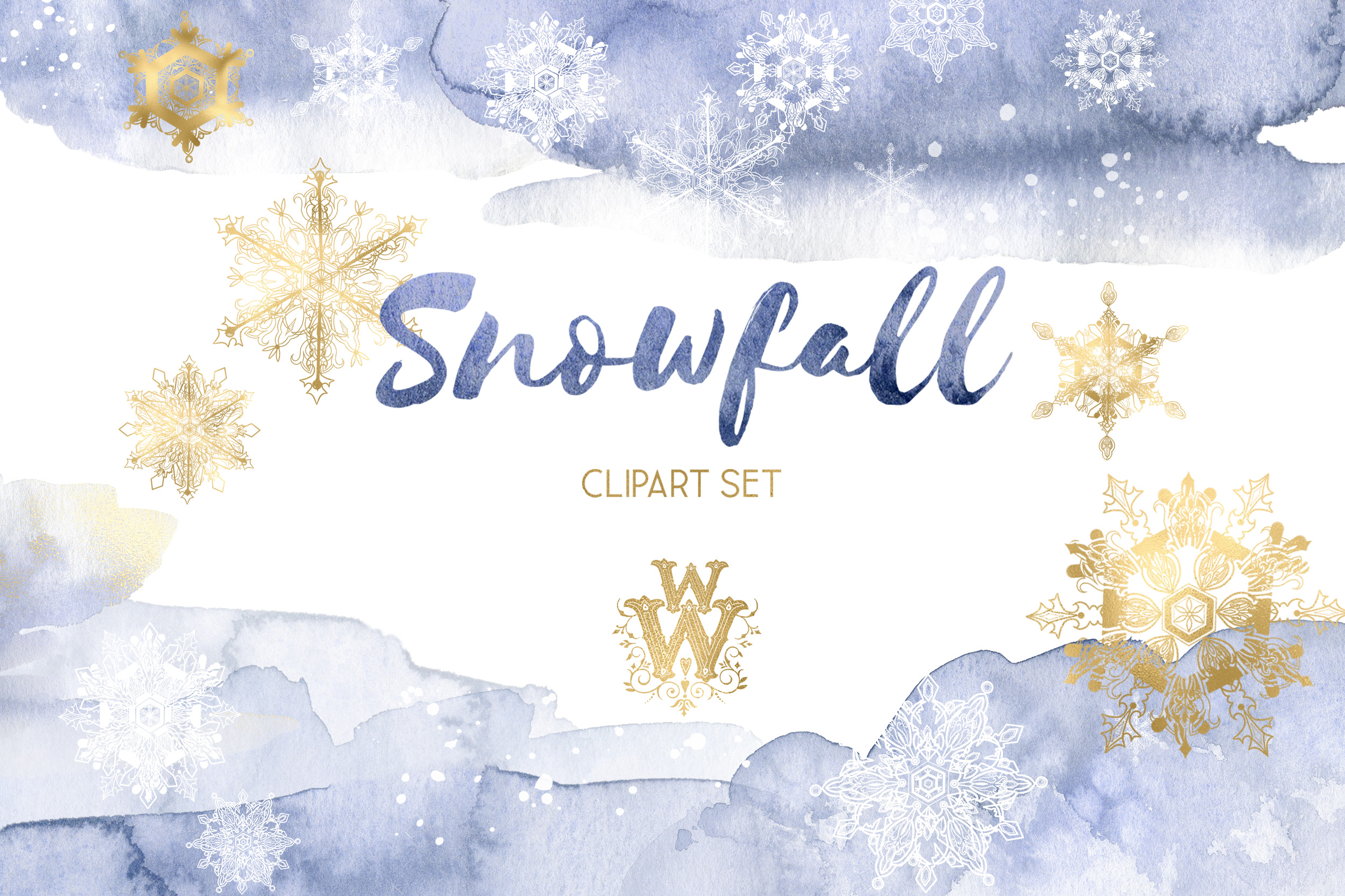Winter snowflakes clipart set with watercolor splashes example image 1