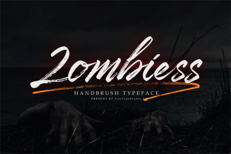 Zombies Hand Brush font example image 1