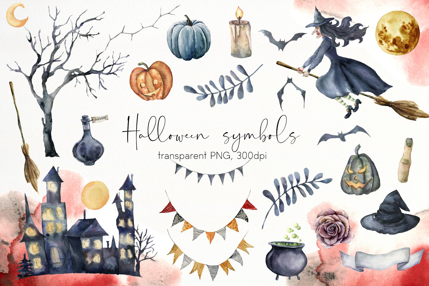 Halloween night. Watercolor clip art example image 4