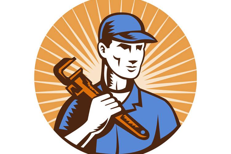 Plumber holding monkey wrench example image 1