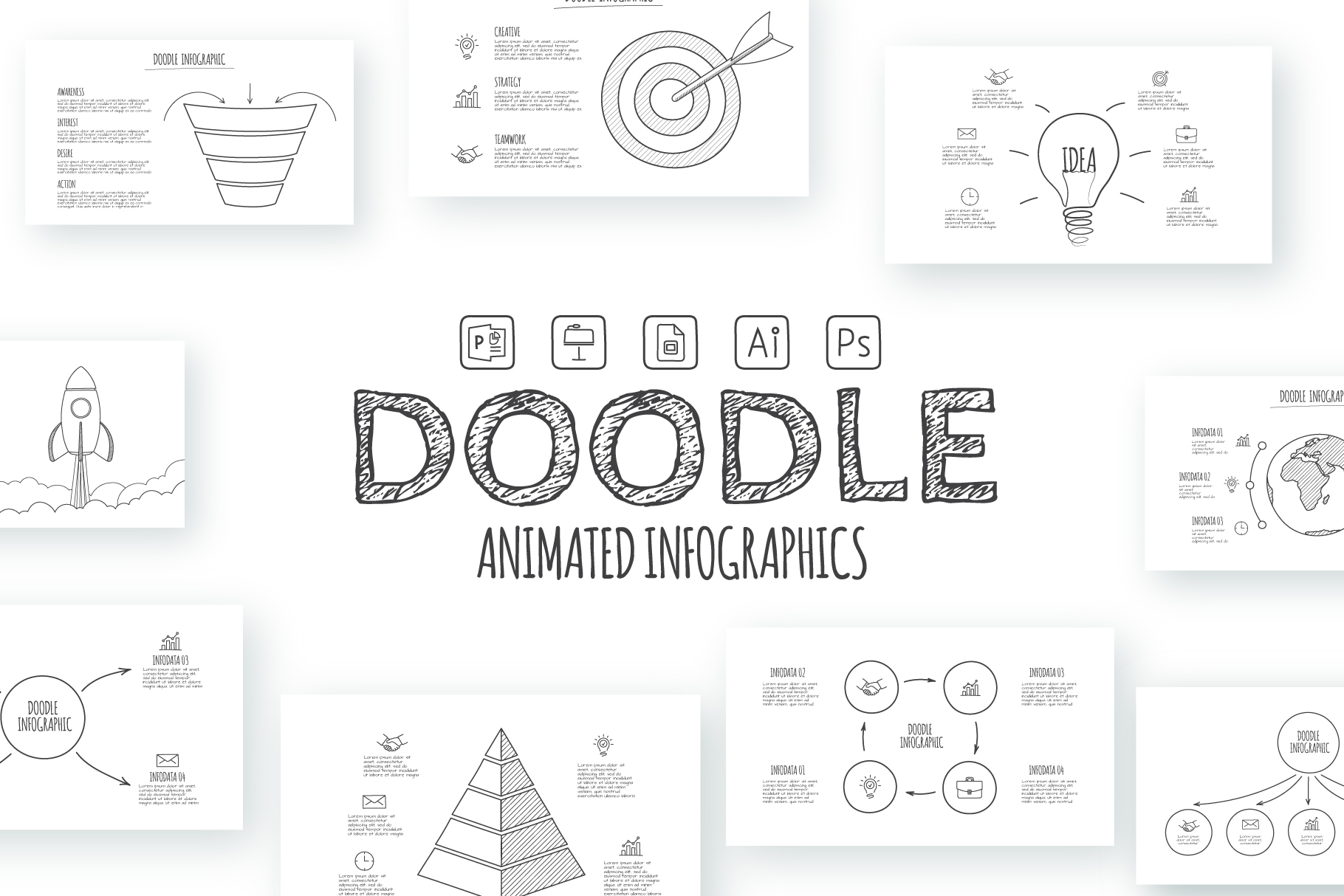 Doodle infographics presentation example image 1