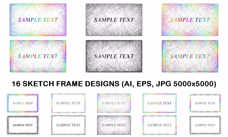 16 sketch frame designs (AI, EPS, JPG 5000x5000) example image 2