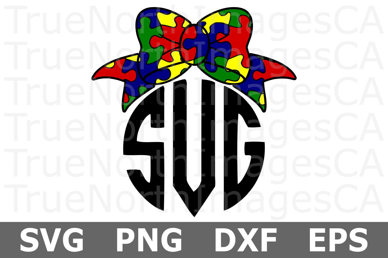 Puzzle Piece Bow - An Autism Awareness SVG Cu example image 2