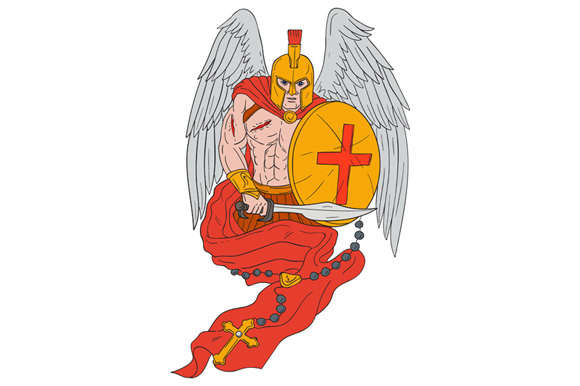 Spartan Warrior Angel Sword Rosary Drawing example image 1