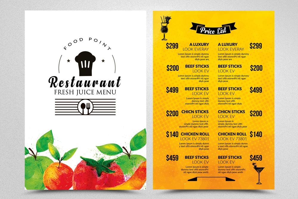 Restaurant Menu Psd Flyer example image 1