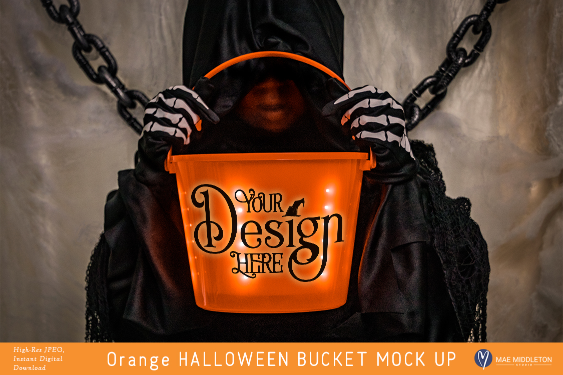 Orange Halloween Bucket - styled photo, mock up example image 1