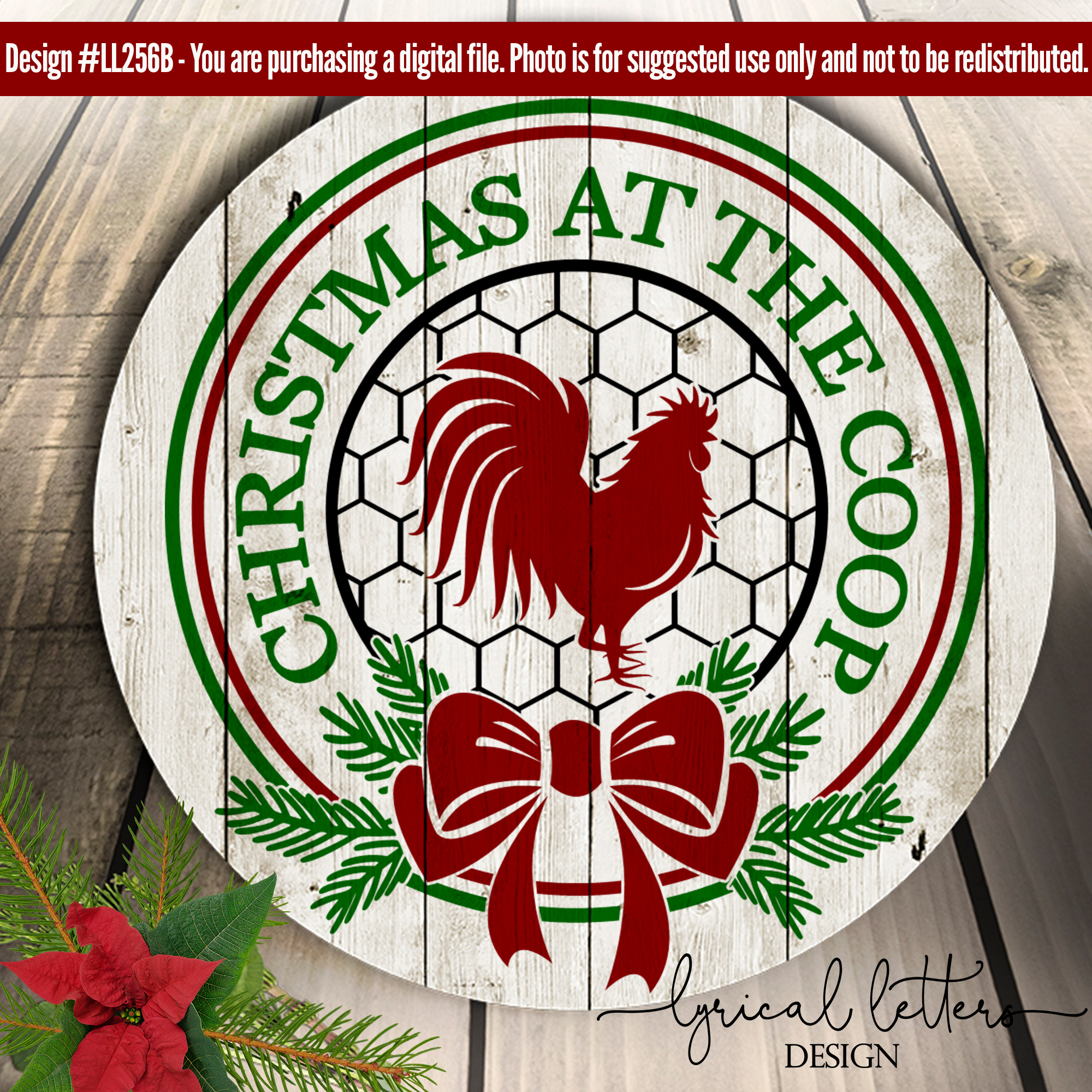 Farmhouse Christmas at the Coop SVG DXF LL256B example image 3