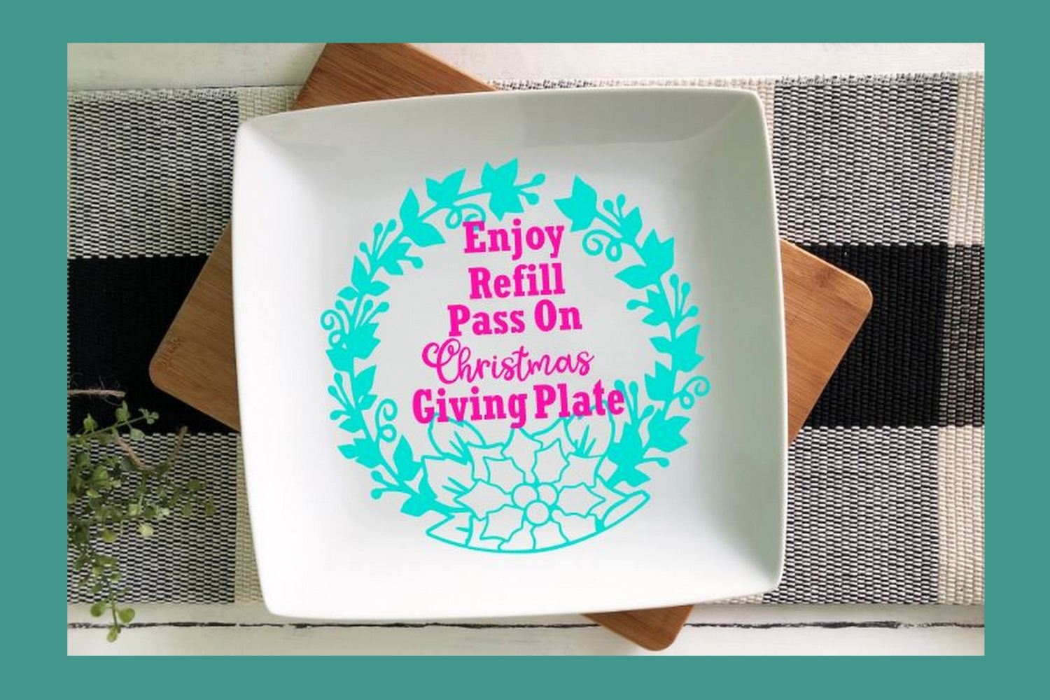SVG Cut File Christmas Giving Plate Design #02 example image 3