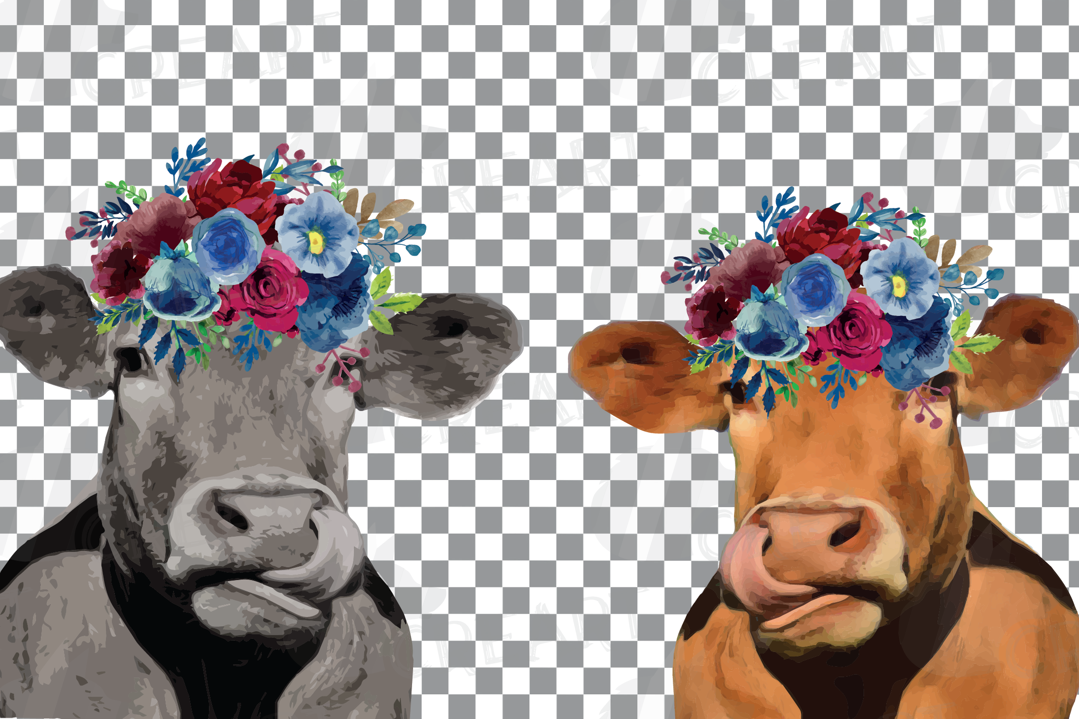 Floral cow printable gift graphic. Farmhouse wall decoration example image 2