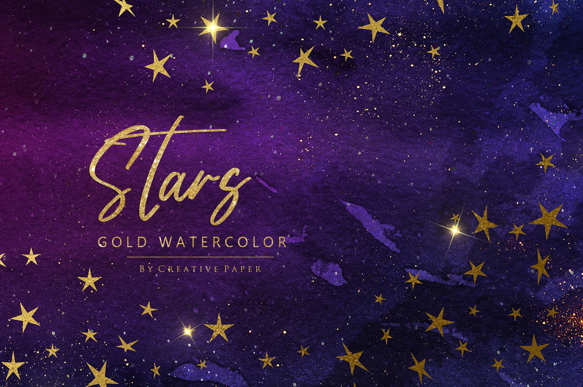 Watercolor Gold Stars and Galaxy Backgrounds example image 1