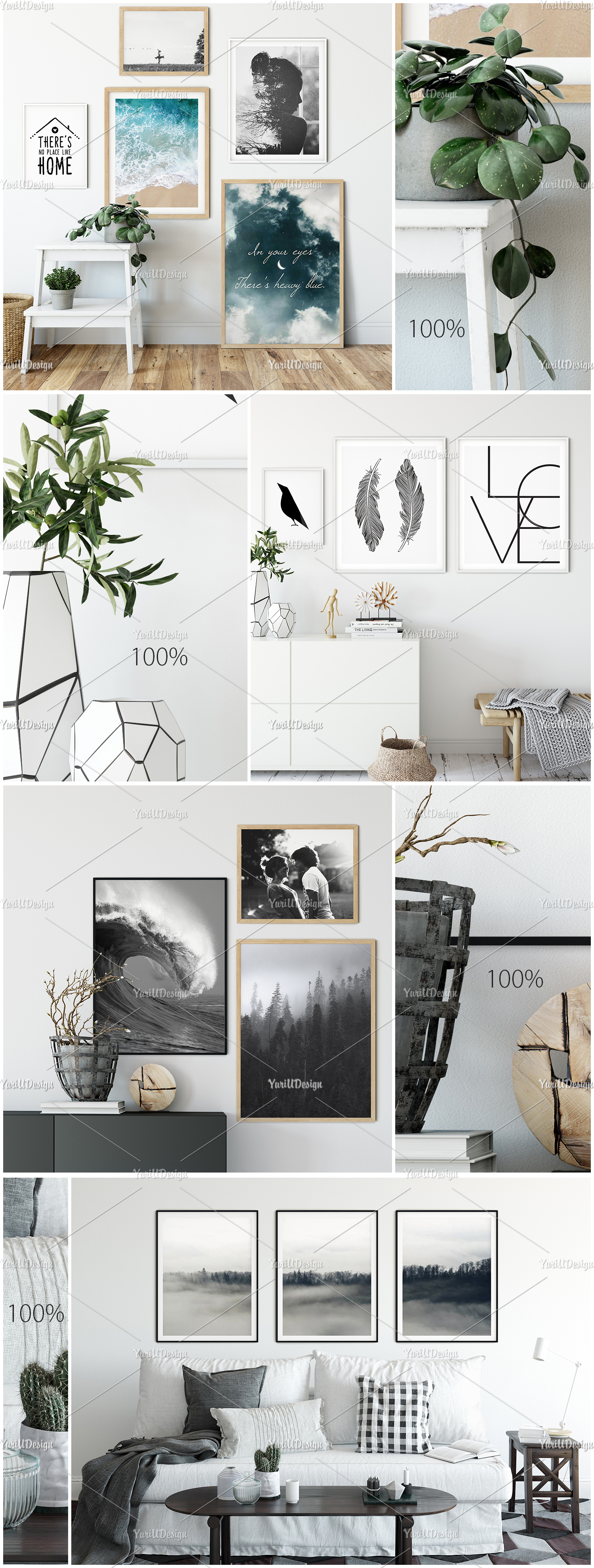 Scandinavian Interior Frames & Walls Mockup Bundle example image 8