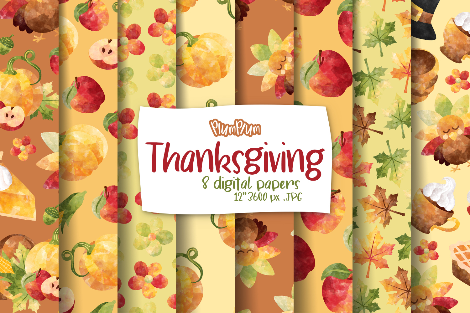 Thanksgiving Digital Papers example image 1