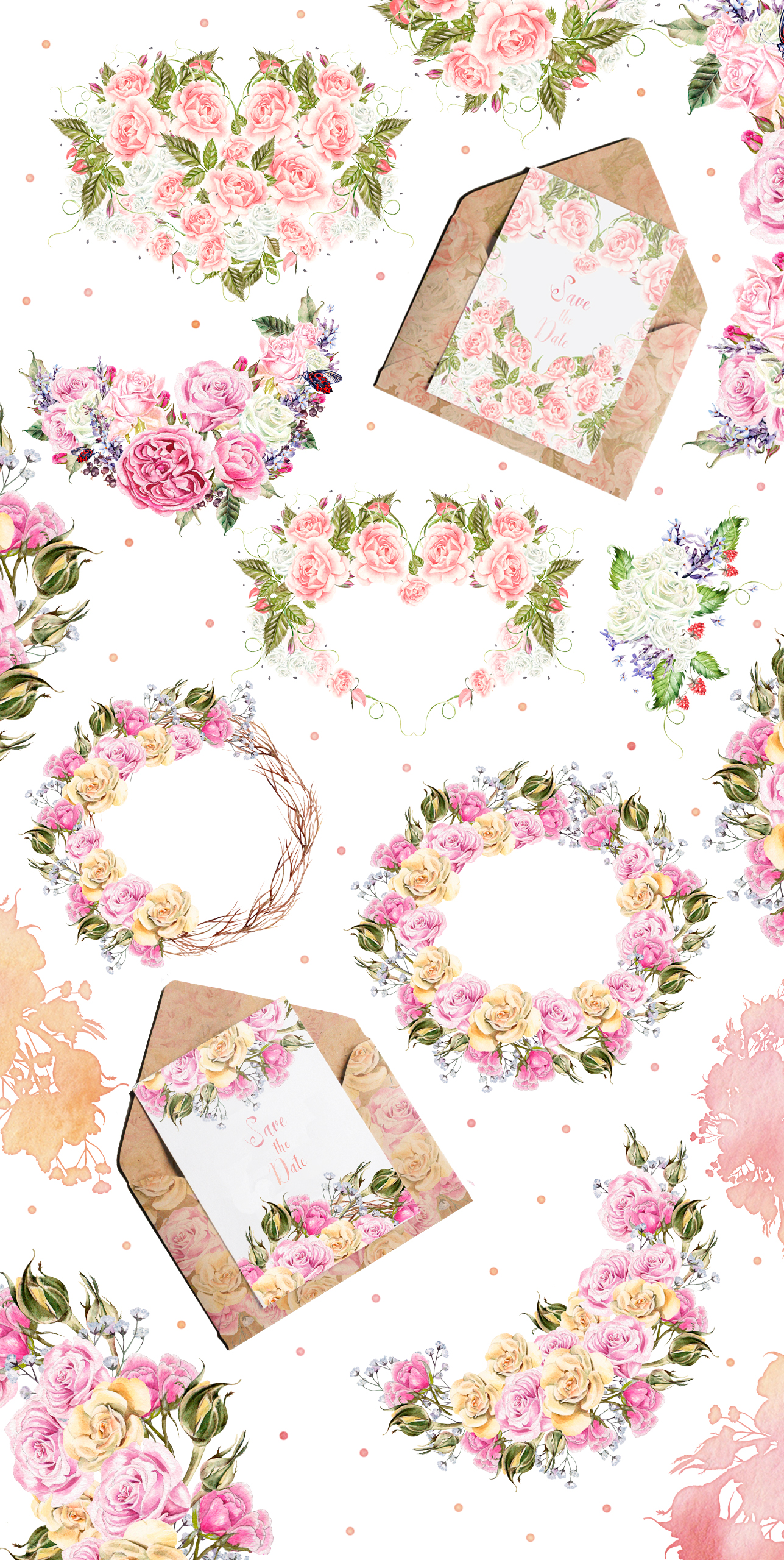 Watercolor Elements & Wreath example image 2