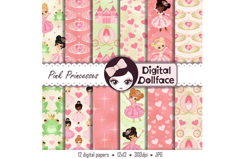 Princess and Frog Digital Paper / Magical Princess Carriage and Tiara Patterns example image 2
