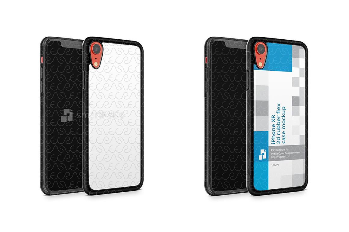 Apple iPhone XR 2d RubberFlex Mobile Case Design Mockup 2018 example image 1