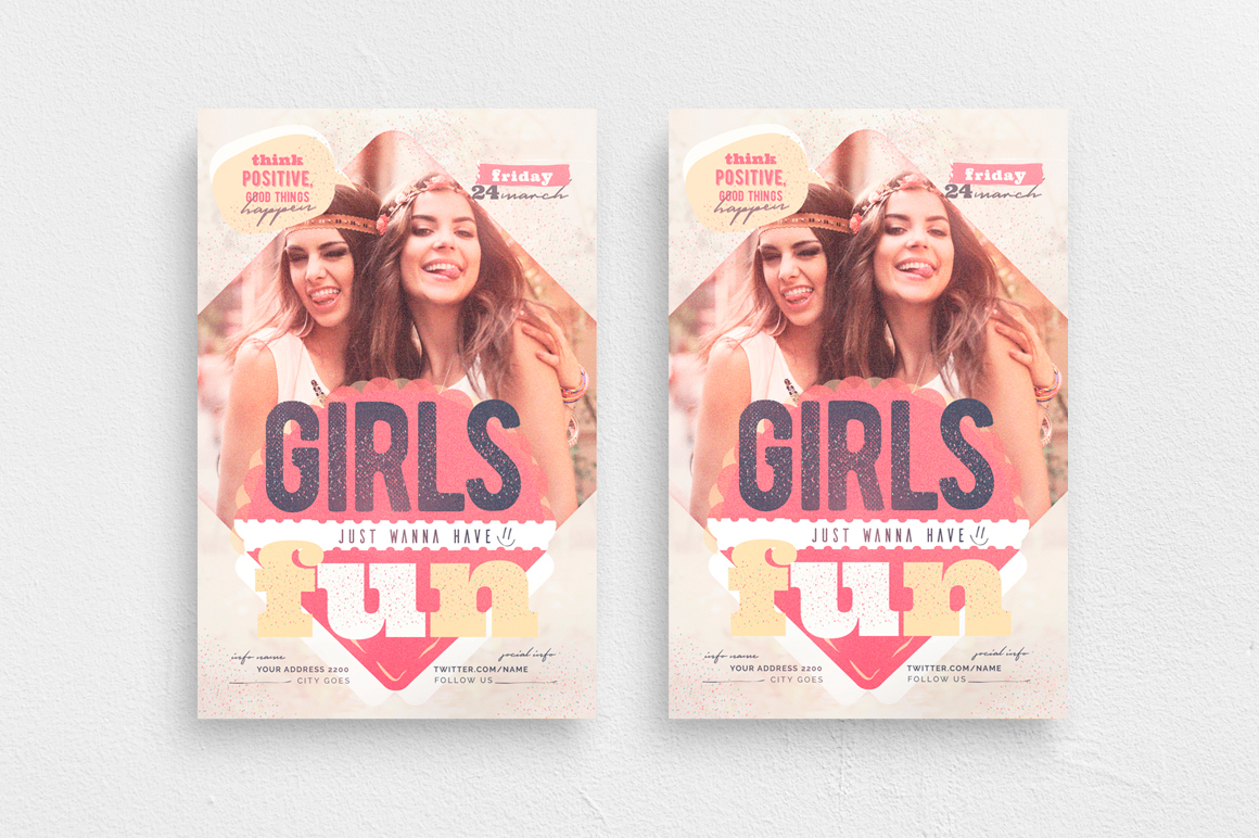 Girls Just Wanna Have Fun Flyer Template example image 1